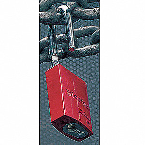 Red Keyed Padlock, Keyed Alike Key Type, Aluminum Body Material