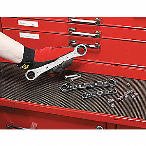 Ratcheting Wrench Set, Box End, SAE, Number of Pieces: 5