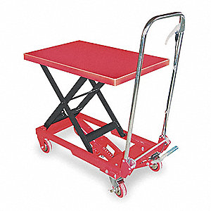 "Scissor Lift Cart, Fixed, 400 lb., Platform Width 17-5/8"", Platform Length 27-1/2"", Raised Height 29"