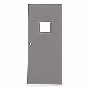 Metal Door With Glass,Type 2,84 x 36 In