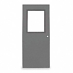 Half Glass Steel Door,84x30 In,16 ga
