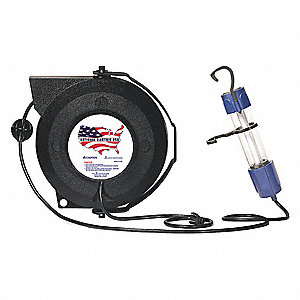 13 Watt Fluorescent Extension Cord Reel with Hand Lamp, Black