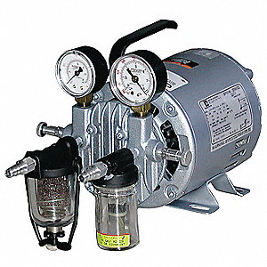Vacuum Pump,Rotary Vane,1/6 HP,20 In HG
