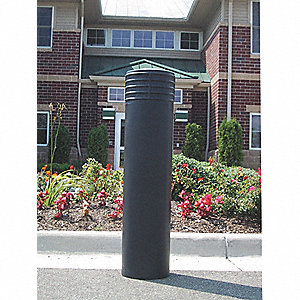 Bollard Cover,10 In Dia.,52 In H,Black