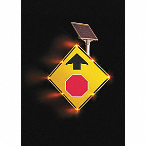 Stop Sign Ahead LED Traffic Sign, Yellow LED Color, Power Requirements: Solar
