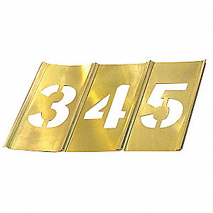 "Stencil Set, Numbers, 3"", Brass, 1 EA"