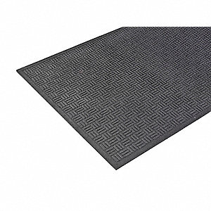 Black Recycled Rubber, Entrance Mat, 3 ft. Width, 5 ft. Length