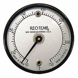 Bimetal Thermom,2 In Dial,50 to 750F