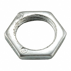 "Locknut, Steel, 3/8"" Conduit Size, 1/8"" Overall Length"