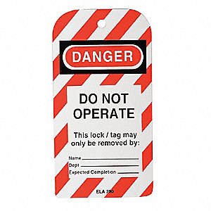 "Styrene, Do Not Operate Lockout Tag, 5-3/4"" Height, 3"" Width"