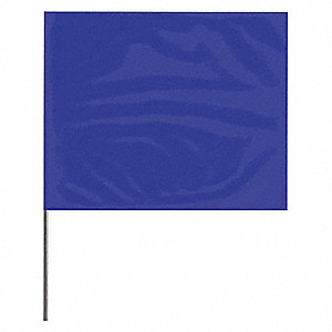 "Blue Marking Flag, 2.5"" Flag Height, Solid Pattern, Blank"