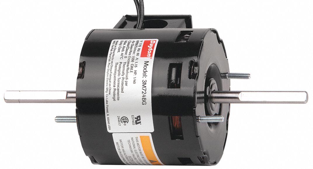 Dayton hvac motor 1 40 hp 1550 rpm 115v 3 3 3m724 3m724 for Dayton gear motor catalog