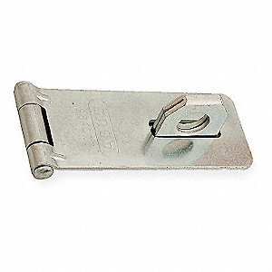 "Conventional Fixed Staple Hasp, 3-3/4"" Length, Hardened Steel, Galvanized Finish"