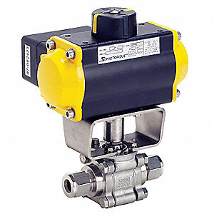 Ball Valve,Pneumatic Actuated,1/2 In