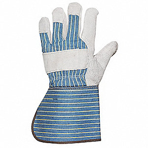 Leather Gloves,Gauntlet,Blue/Gray,L,PR