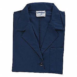 Collared Lab Coat,XL,Blue,39 In. L