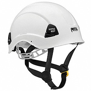 White Rescue Helmet, Shell Material: Polycarbonate, 4pt. Ratchet Suspension, Fits Hat Size: 6-3/4 to