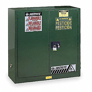 "Pesticide Safety Cabinet, Manual Door Type, 30 gal. Capacity, 38-1/4"" Height, 43"" Width, 18"" Depth"