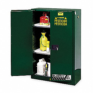 "Pesticide Safety Cabinet, Manual Door Type, 60 gal. Capacity, 65"" Height, 34"" Width, 34"" Depth"
