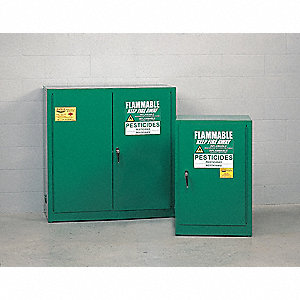 "Pesticide Safety Cabinet, Self-Closing Door Type, 12 gal. Capacity, 35"" Height, 23"" Width, 18"" Depth"