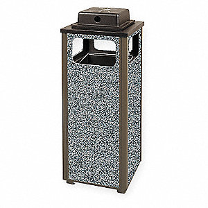 12 gal. Dimension 500 Series, Bronze/Gray, Steel/Stone, Ash/Trash Can