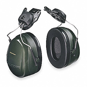 Dark Green Cap-Mounted Ear Muff, Noise Reduction Rating NRR: 24dB, Dielectric: No