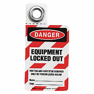"Vinyl, Equipment Locked Out Tag, 4"" Height, 2"" Width"