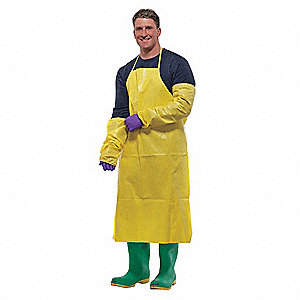 "Disposable Apron, Yellow, 29"" Width, Polyethylene Film and Spunbond Polypropylene Material, PK,  100"