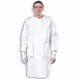 White, Multilayer, Disposable Lab Coat, Size: XL