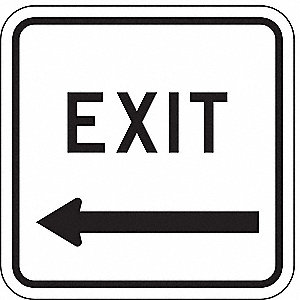 "Text and Symbol Exit, High Intensity Prismatic Aluminum Traffic Sign, Height 18"", Width 18"""