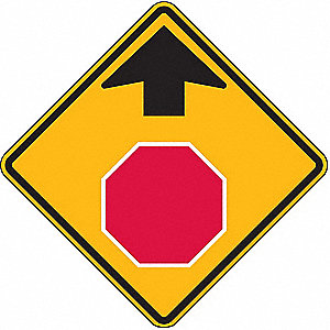 Symbol Stop Sign Ahead Pictogram, High Intensity Prismatic Recycled Aluminum Traffic Sign, Height 30