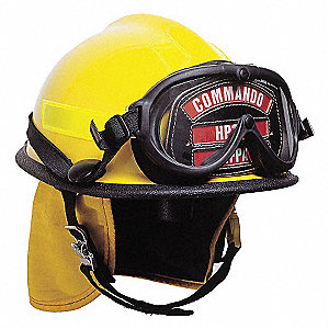 Yellow Fire Helmet, Shell Material: Thermoplastic, Ratchet Suspension, Fits Hat Size: 6-3/8 to 8-3/8