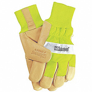 Leather Gloves,Lime Green,Mens XL,PR