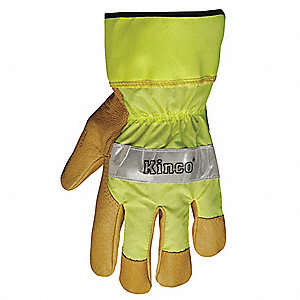 Leather Gloves,S,Hi Vis Green,PR