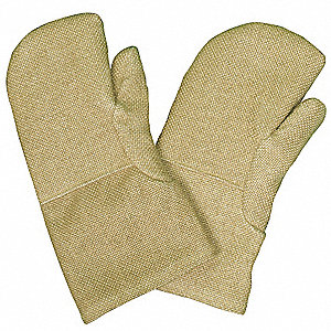 Heat Resistant Mittens, ZetexPlus® Highly Texturized Fiberglass, 2000°F Max. Temp., One Size Fits Mo