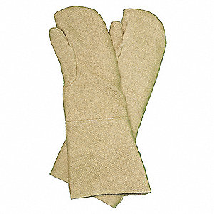 Heat Resistant Mittens, Zetex® Highly Texturized Fiberglass, 2000°F Max. Temp., One Size Fits Most,