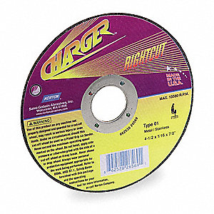 "5"" Abrasive Cut-Off Wheel, 0.045"" Thickness, 7/8"" Arbor Hole"