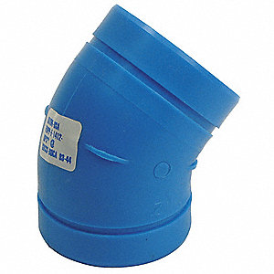 "4"" Elbow, 45°, Polypropylene, Max. Pressure 80 psi, Blue"