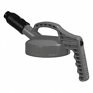Stumpy Spout Lid,w/1 In Outlet,HDPE,Gray