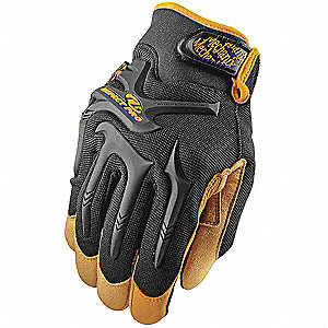 Anti-Vibration Gloves, Synthetic Leather Palm Material, Black, S, PR 1