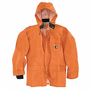 "Men's Orange PVC Rain Jacket with Detachable Hood, Size XL, Fits Chest Size 48"" to 50"""