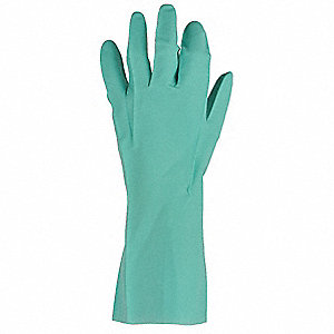Nitrile Chemical Resistant Glove, 11 mil Thickness, Unlined Lining, Size 10, Green, PR 1
