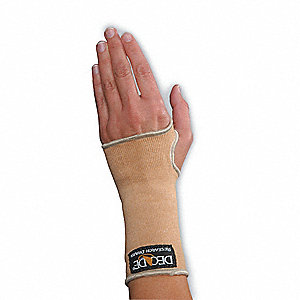 "Beige Seamless Slip-On Wrist Support, Size: S, Fits 5-1/2 to 6-1/2"", Wrist: Ambidextrous"