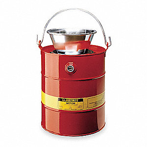 Drain Can,5 Gal.,Red,Galvanized Steel