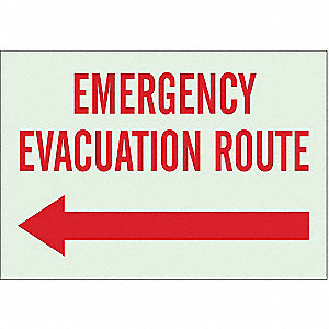 Emergency Evacuation Route Sign,R/WHT