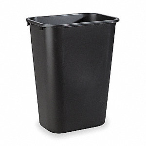 10.3 gal. Rectangular Black Open-Top Trash Can