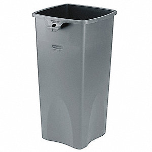 23 gal. Square Gray Open-Top Trash Can