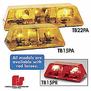 Red Mini Lightbar, Strobe Lamp Type, Magnetic Mounting, Number of Heads: 2