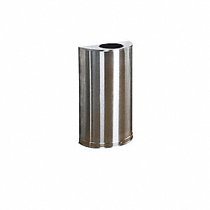 12 gal. Half Round Stainless Steel Open-Top Trash Can