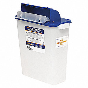 Sharps Container,3 Gal.,Hinged Lid,PK5